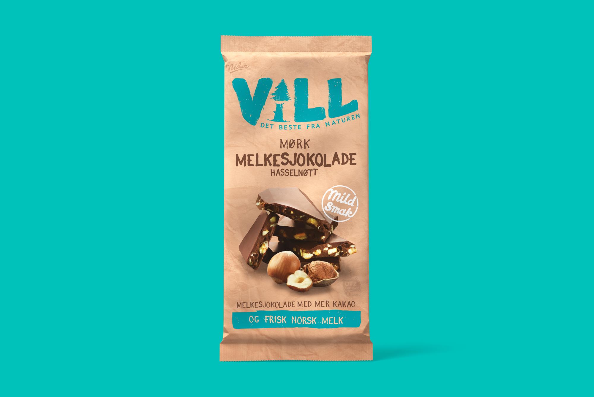 Vill - Mørk Melkesjokolade-Hasselnøtt